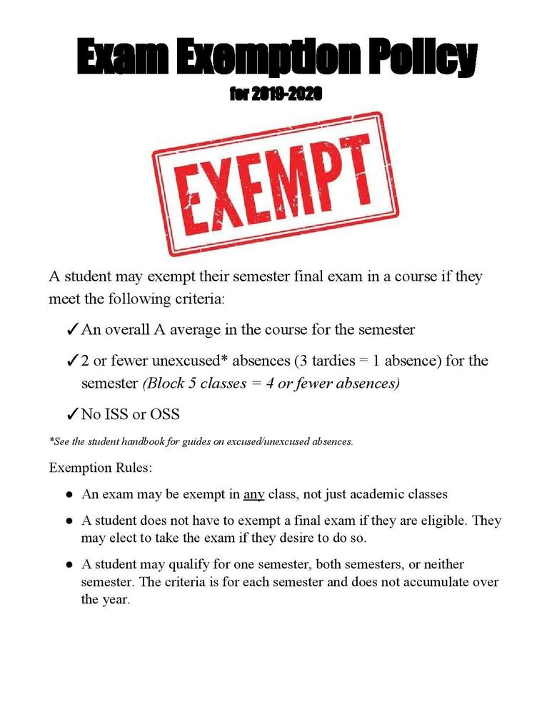 Semester Exams Exemption Policy