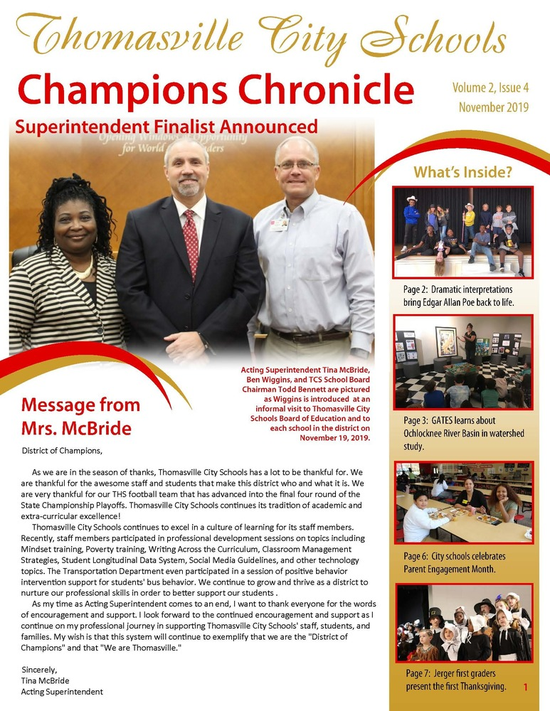 November Champions Chronicle Newsletter