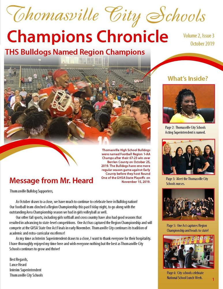 October Champions Chronicle Newsletter