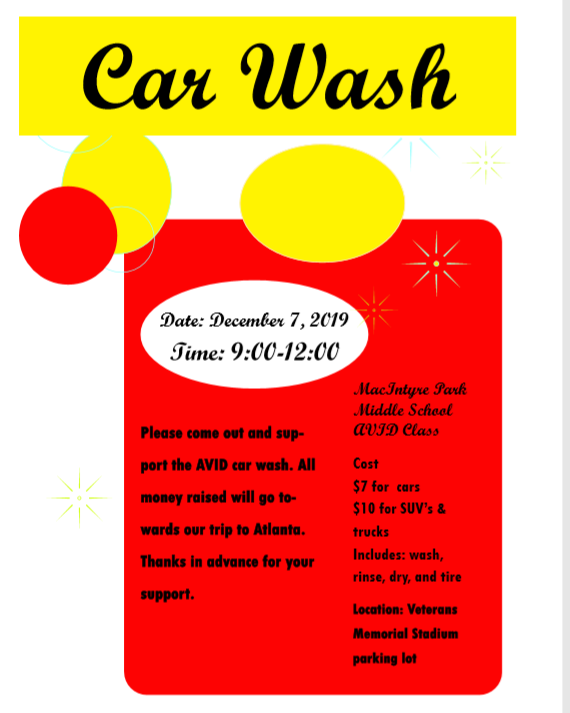 AVID Car Wash Saturday 12/7 9:00 am to 12:00 pm