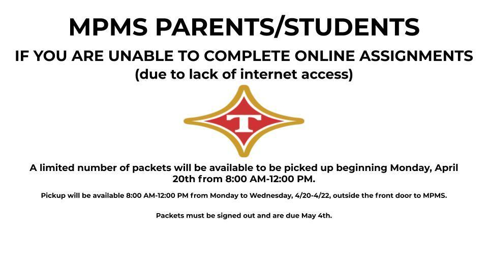 Packets For Students without Chromebooks or Internet Access