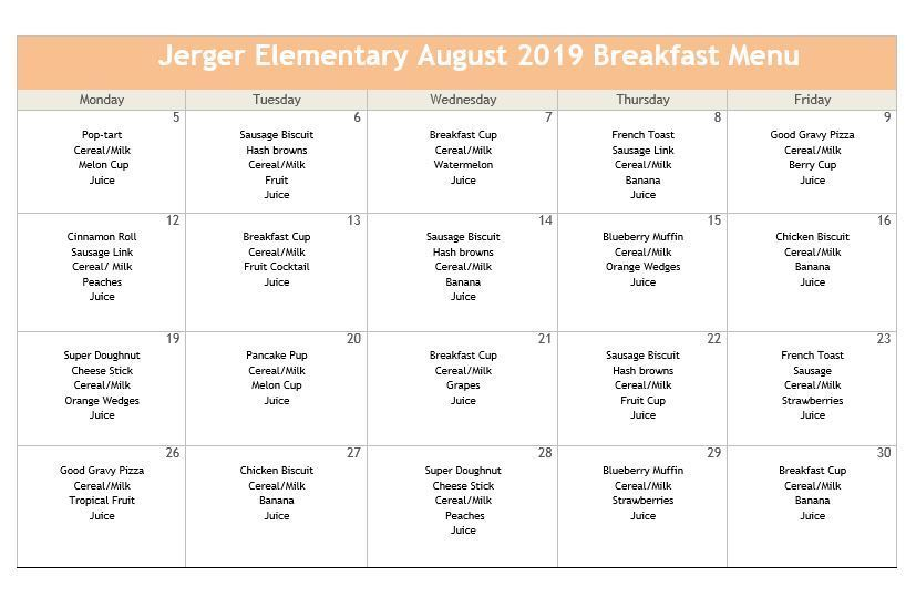 Aug Breakfast Menu