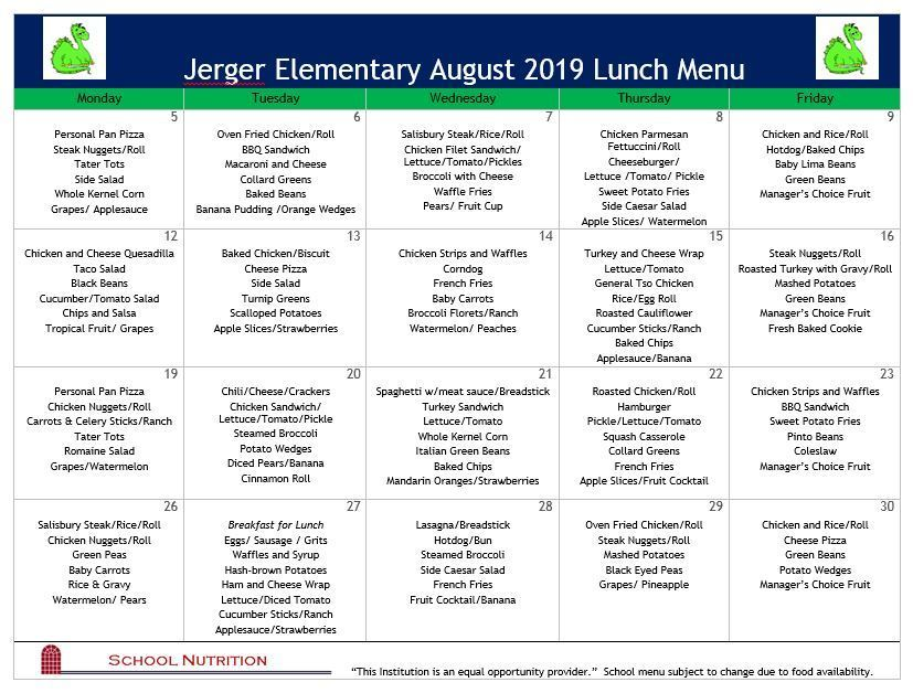 Aug Lunch Menu