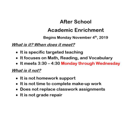 Academic Enrichment - Monday through Wednesday
